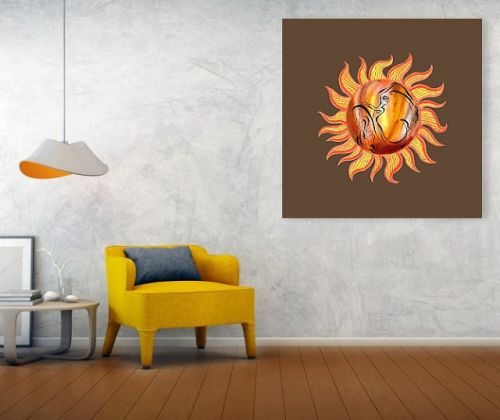 Sunny Day - Watercolor Sun Painting In Interior and On Merchandise