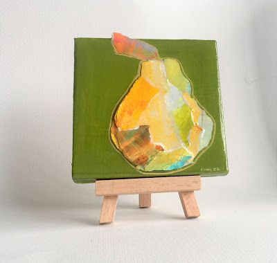 "Summer Sale, Still Life, Paper Pear Painting, Resin, Textural Collage, Small Painting, Mixed Media ""PAPER PEAR"