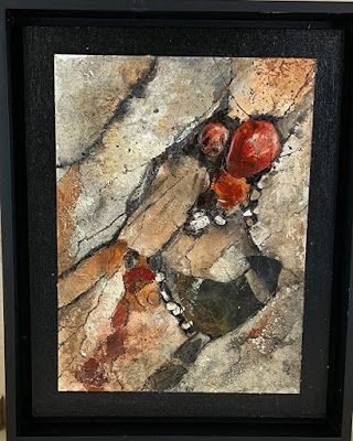 """Geologic Abstract Art, Mixed Media, Contemporary Painting, """"Geologic Study"""" by Texas Contemporary Artist Sharon Whisnand"""