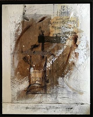 "Mixed Media Art, Collage, Contemporary Art ""Music Notes II"" by Texas Contemporary Artist Sharon Whisnand"