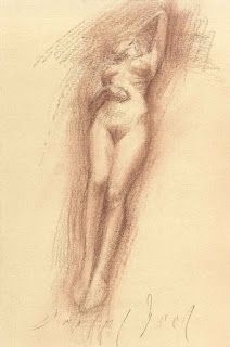 Reclining and standing female nude