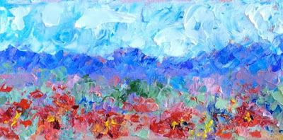 """Palette Knife Impressionist Landscape Flower Painting """"Poppies in View"""" by Colorado Impressionist Judith Babcock"""