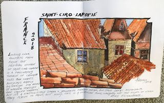 Journal Entry Southwest France..Watercolor..Texas Artist..Rae Andrews