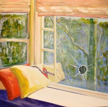 """Architecture Painting """"Ricochet"""" by California Artist Cecelia Catherine Rappaport"""