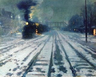 Charles Reiffel, Railway Yard - Winter Evening