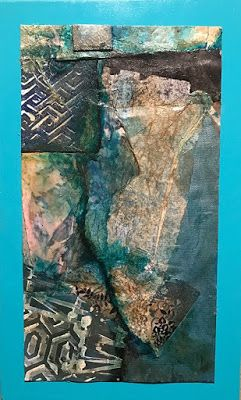 """Mixed Media Abstract Art, Contemporary Painting, Collage, """"Blue Walls in the Canyon"""" by Florida Contemporary Artist Mary Ann Ziegler"""
