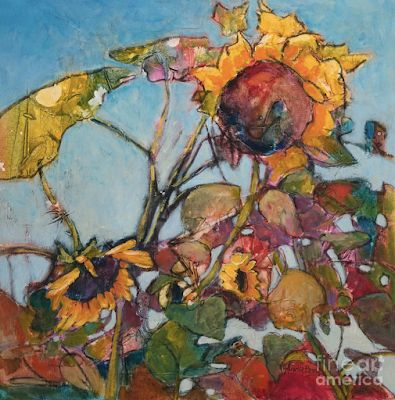 """Contemporary Botanical Fine Art Print, Sunflowers, """"Celebrate All Stages"""" by Passionate Purposeful Painter Holly Hunter Berry"""