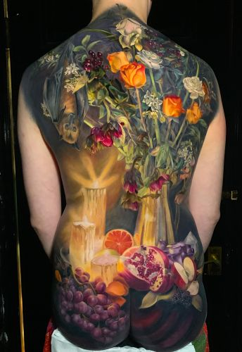 Elaborate Chiaroscuro Tattoos by Makkala Rose Burst With Ripe Fruit and Blossoming Flowers