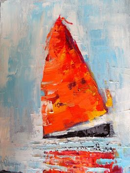 """Abstract Sailboat Painting, Palette Knife Artwork, Small Oil Painting, Daily Painting, """"Red Sails"""" 9x12"""" Oil on Canvas"""