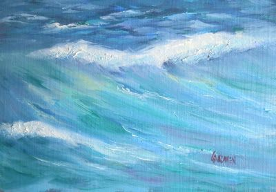 """Oil Painting """"Rough Surf"""" Seascape, Small Daily Painting Original Art"""