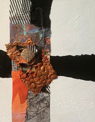 """Abstract Mixed Media Art, Contemporary Painting, """"OCTOBER CROSS"""" by Florida Contemporary Artist Mary Ann Ziegler"""