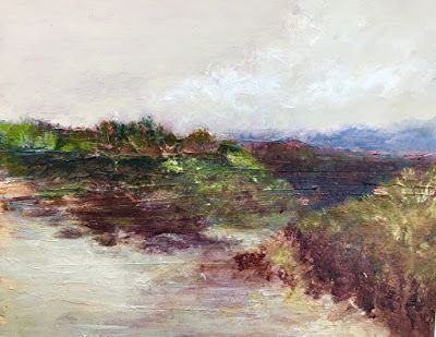 "Contemporary Landscape Painting,Textured Art, Mixed Media, Fine Art For Sale ""Further West"" by Contemporary Artist Liz Thoresen"