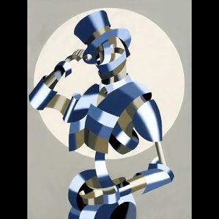 Mark Webster - Abstract Geometric Grayscale Circus Ringleader Oil Painting