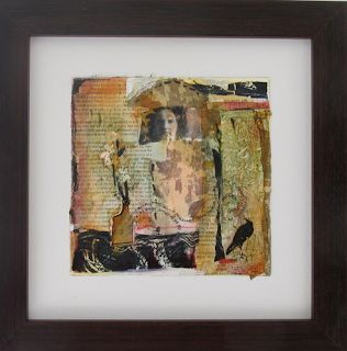 "Mixed Media,Collage Figurative Art Painting, ""Raven Messages"" by Intuitive Artist Joan Fullerton"