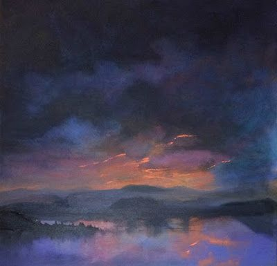 "Contemporary Landscape Fine Art Oil Painting, Sunset, Lake, Mountains ""Almost Gone"" by Colorado Artist Susan Fowler"