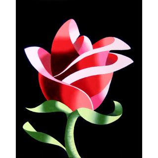 Mark Webster - Abstract Geometric Rose 2 Still Life Painting