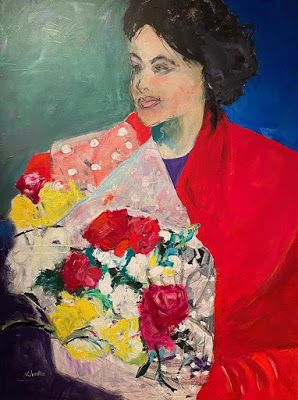 """Expressionist Female Figurative, Abstract Painting, """"SURPRISE BOUQUET"""" by Oklahoma Artist Nancy Junkin"""