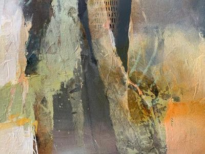 """Contemporary Abstract Fine Art Painting """"SPACES BETWEEN """" by Intuitive Artist Joan Fullerton"""