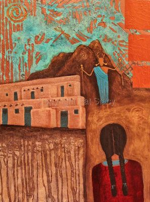 "Original Abstract Mixed Media Girl Figure Adobe House Mystical Painting ""The Dreamer"" by Contemporary Arizona Artist Pat Stacy"