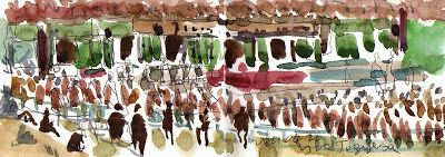 Sketching in watercolor on fine days