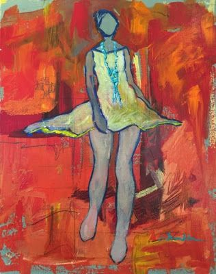 """Contemporary Female Figurative Fine Art Painting, """"Stepping Out"""" by Oklahoma Artist Nancy Junkin"""