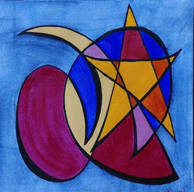 "Abstract Art, Expressionism Painting, Contemporary Art, ""Moon and Star Bop"" by Cynthia Berg"