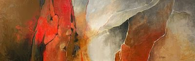 "Geologic Abstract, Mixed Media Landscape, ""Phantom Canyon"" by Colorado Mixed Media Abstract Artist Carol Nelson"