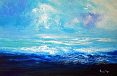 """Contemporary Abstract Seascape Painting """"Shape of Water"""" by International Contemporary Seascape Artist Arrachme"""