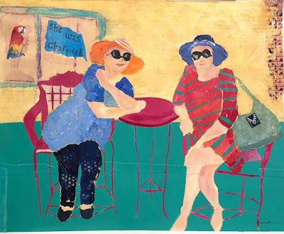 "Contemporary Female Figurative Painting, Best Friends, Hats ""Friends in Taos"" by Oklahoma Artist Nancy Junkin"