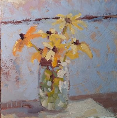 Still Life Blackeyed Susans Floral Bouquet Oil Painting