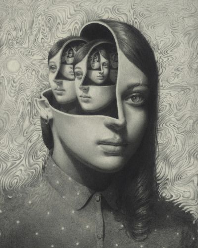 Graphite Portraits Distort and Intertwine Subjects to Visualize Metaphors of the Body