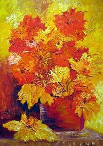"Mixed Media Still Life Art Painting ""Yellow Flowers"" by California Artist Cecelia Catherine Rappaport"