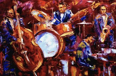 "Abstract Impressionist Musicians, Bass, Music Fine Art Print ""Jazz Impressionist Print"" by Debra Hurd"