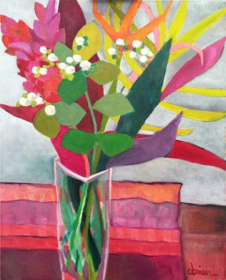"""Bold Expressive Still Life Flower Painting """"Tropicale"""" by Santa Fe Artist Annie O'Brien Gonzales"""