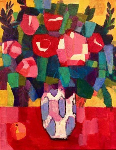 """Contemporary Expressionist Bold Still Life Flower Art Painting """"Roses and an Orange"""" by Santa Fe Artist Annie O'Brien Gonzales"""
