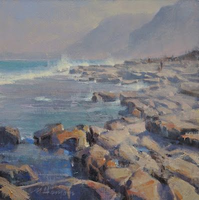 "DPW Auction: Scarborough Beach Rocks - oil - 8""x8"" - SOLD!"
