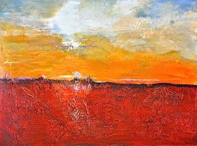 """Mixed Media Abstract Landscape Painting """"Carefree Forever"""" by California Artist Cecelia Catherine Rappaport"""