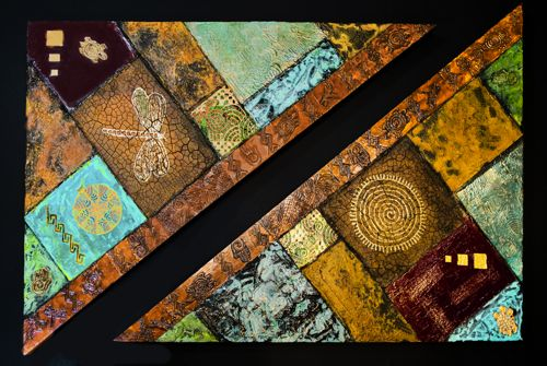 """Contemporary Abstract Mixed Media Art Paintings """"Patchwork"""" by Arizona Contemporary Artist Pat Stacy"""