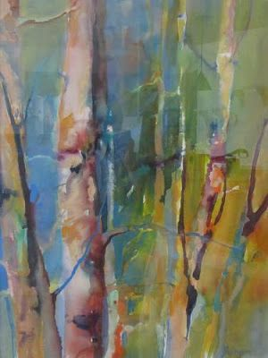 """Abstract Landscape, Colorful Aspen Tree Painting """"Aspens Turning"""" by Intuitive Artist Joan Fullerton"""