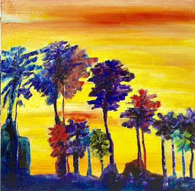 Mixed Media Abstract Landscape Painting,Palm Trees, 'Sunset Palms' by California Artist Cecelia Catherine Rappaport