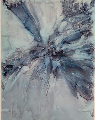 "Alcohol Inks, Abstract Painting, Contemporary Art ""WINTER'S SNOWFLAKE"" by Florida Artist Mary Ann Ziegler"
