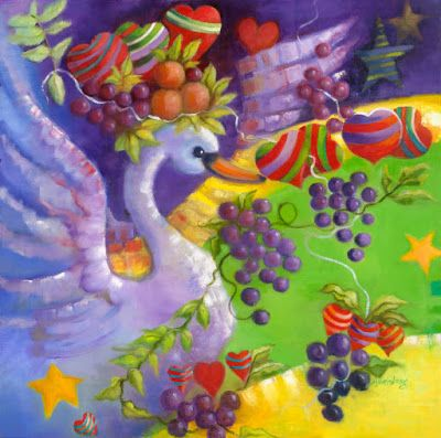 """Contemporary Painting, Swan,Grapes, Hearts """"Swan Universe"""" by Illinois Artist Marilyn Weisberg"""