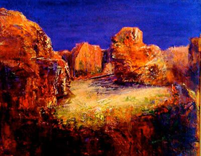 """Mixed Media Landscape Painting """"Secret Places"""" by California Artist Cecelia Catherine Rappaport"""