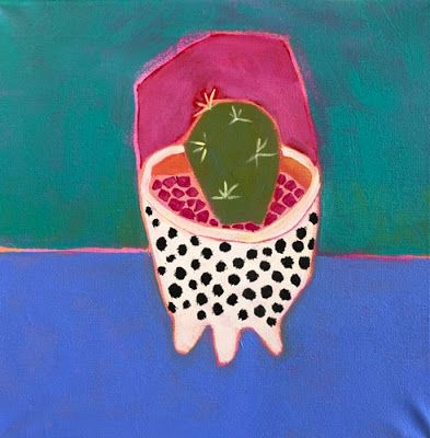 """Contemporary Expressionist Still Life Art,Bold Expressive Painting """"Polka Dot Cactus"""" by Santa Fe Artist Annie O'Brien Gonzales"""