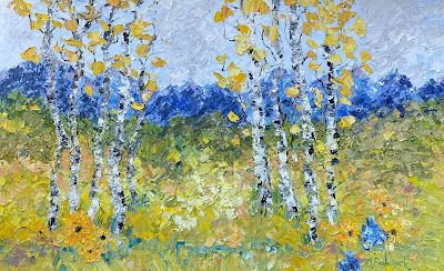 """Palette Knife Aspen Tree Landscape Painting """"The Glory of Summer"""" by Colorado Impressionist Judith Babcock"""
