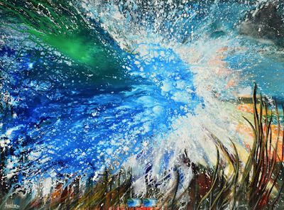 "Contemporary Abstract Seascape Painting ""Shockwave Logic"" by International Abstract Artist Arrachme"