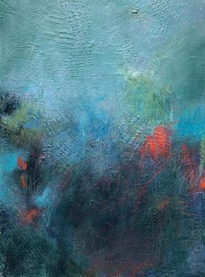 "Textured Art, Abstract Painting, Mixed Media, Abstract Seascape ""Deep"" by Portland Contemporary Artist Liz Thoresen"