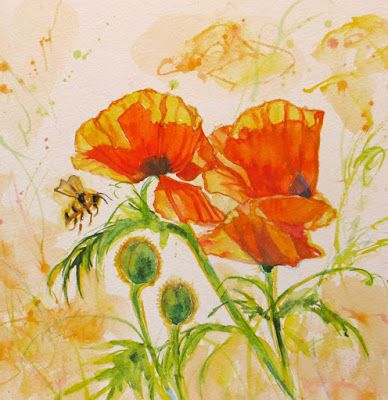 """BEE Dazzled Poppies II"" Original abstract bee poppy watercolor by Janice Trane Jones"