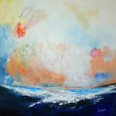 "Contemporary Abstract Seascape Painting ""Music of the Sea"" by International Abstract Realism Artist Arrachme"