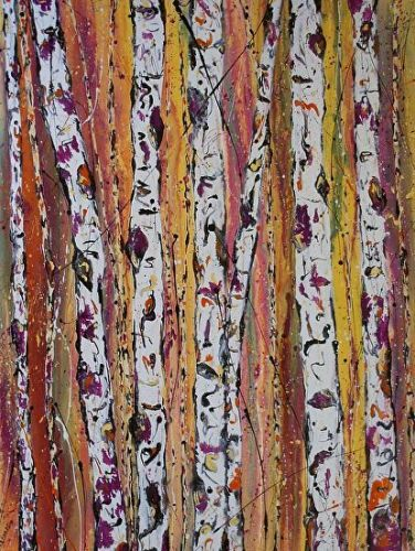 """Contemporary Abstract Aspen Tree Painting""""Spring Reflections in the Forest"""" by International Contemporary Artist Kimberly Conrad"""